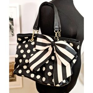 Betsey Johnson Black and Ivory Tote Bag